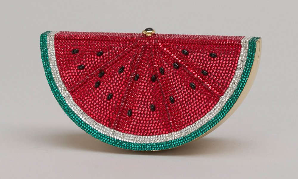 Watermelon minaudière with rhinestones, 1991 / Photo by Gary Mamay; Courtesy the Leiber Collection