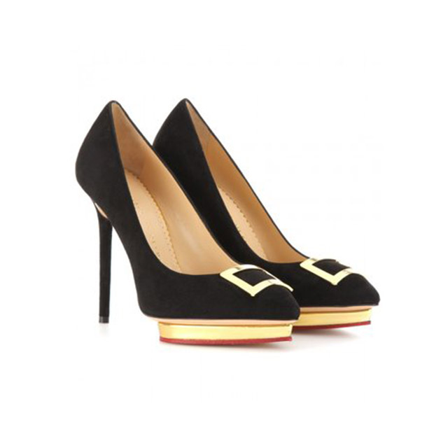 CHARLOTTE OLYMPIA Black Suede Pumps £250