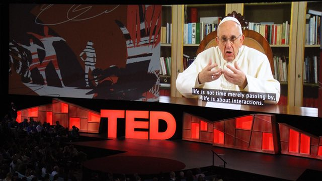 Pope Francis addressing the TED audience from Vatican City / Photo: theguardian.com