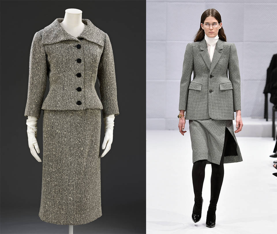 Skirt suit, Cristóbal Balenciaga, 1954 – 5, Paris. Museum no. T.128&A-1982. © Victoria and Albert Museum, London / Demna Gvasalia for Balenciaga, Autumn Winter 2016 ready-to-wear, look 1. Photo: courtesy of Catwalking.com