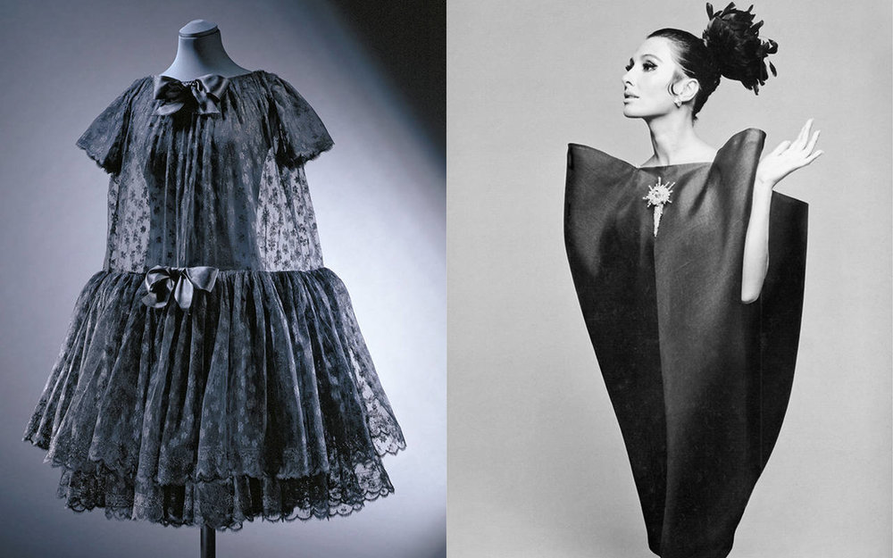 Babydoll evening dress, Cristóbal Balenciaga, 1958, Paris. Museum no. T.334-1997. © Victoria and Albert Museum, London / Alberta Tiburzi in 'envelope' dress by Cristóbal Balenciaga. Photo: Hiro Wakabayashi for Harper's Bazaar, June 1967. © Hiro 1967
