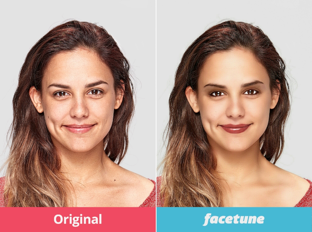 Facetune refines skin texture, smoothes the skin, removes lines, and even puts on makeup.
