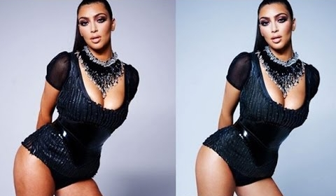 Kim has been slimmed down, and her skin has been brightened and smoothened.