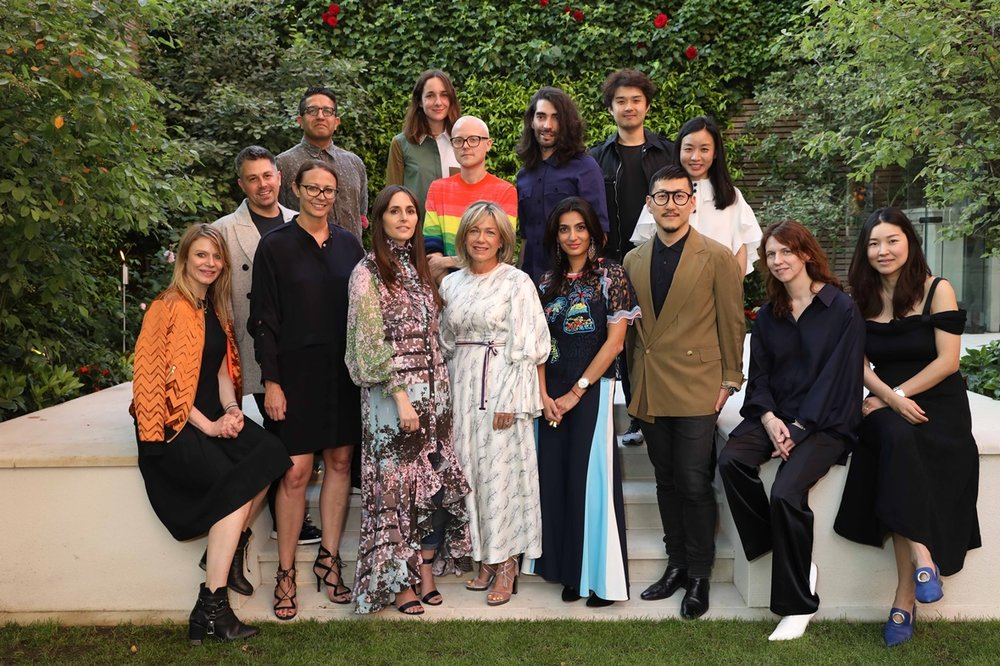 Recipients of the 2017 BFC Fashion Trust award pictured with the Trust's co-chairs and founder patrons.