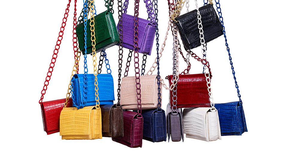 Nancy Gonzalez crocodile cross-body bags in the brand's varied, punchy palette.