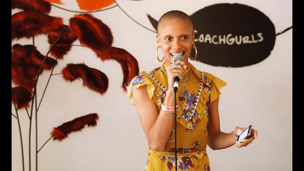 Adwoa Aboah speaking at the Coach x Gurls Talk Festival / Photo: youtube.com