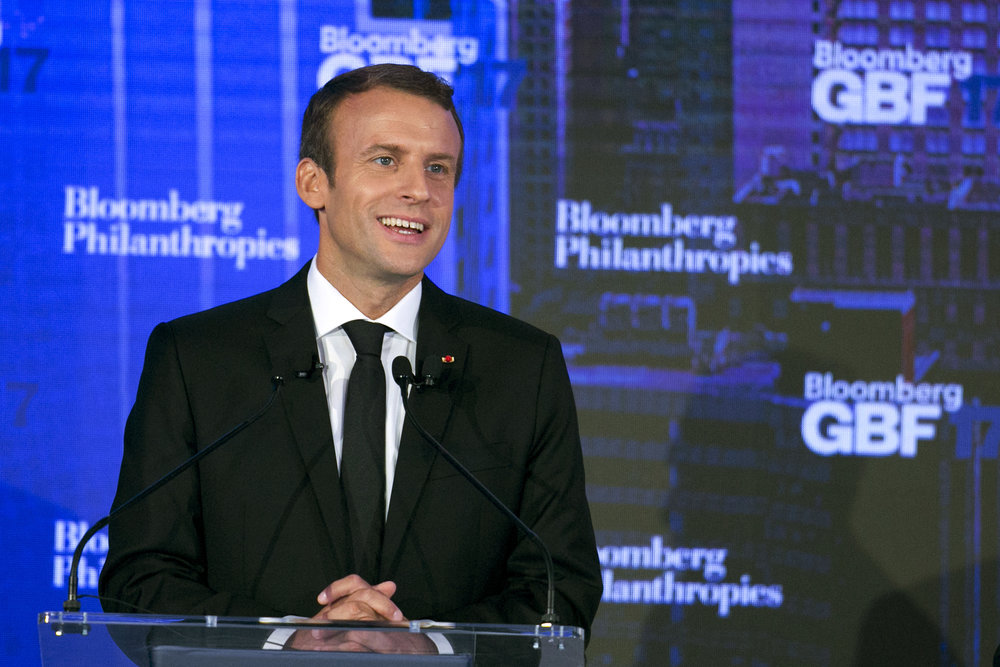 French President Emmanuel Macron at the Bloomberg Global Business Forum in New York / Photo: AP/Mark Lennihan