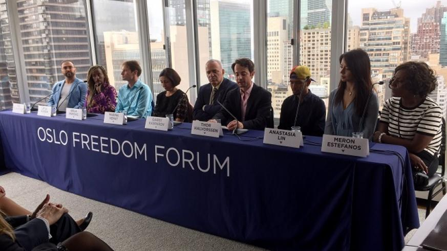 Speakers including OFF founder Thor Halvorssen and activist Wuilly Arteaga at Monday's press conference prior to the launch of the city's first Oslo Freedom Forum / Photo: Amy Russo