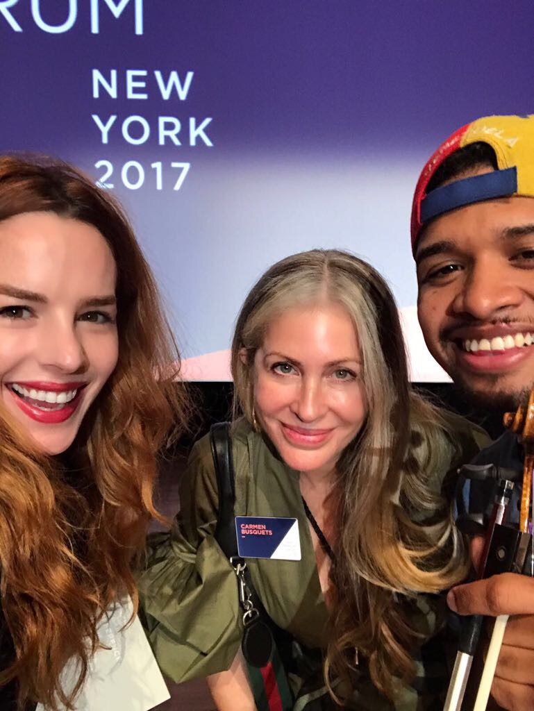 Carmen picture at OFF in New York with jewelry designer Daniela Villegas and Wuilly Arteaga.