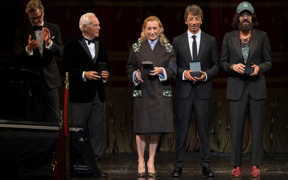 Award winners Giorgio Armani, Miuccia Prada, Valentino's Pierpaolo Piccoili and Gucci creative director Alessandro Michele / Photo: vogue.it