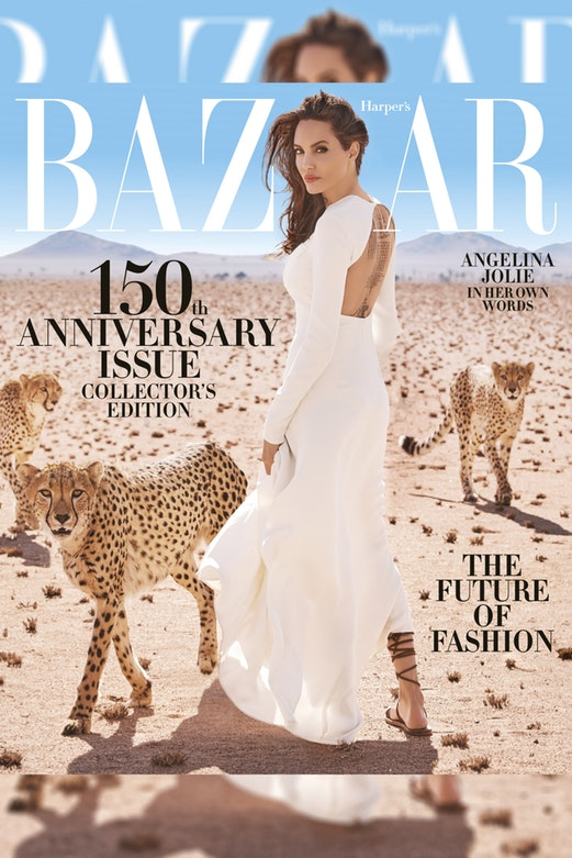 Angelina Jolie covers Harper's Bazaar's anniversary issue