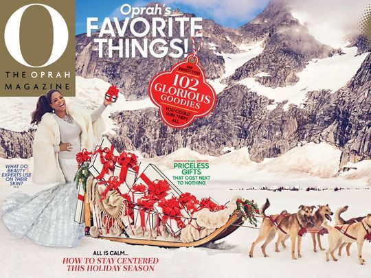 Oprah wearing House of Fluff on the cover of the December 2017 issue of her O magazine.