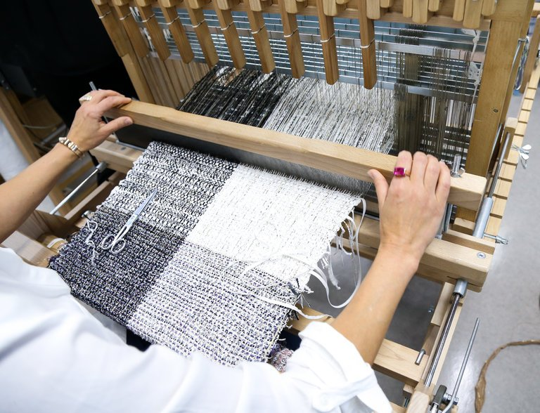 Tweed fabric made from plastics, paper and other materials by Maison Lesage / Photo: nytimes.com