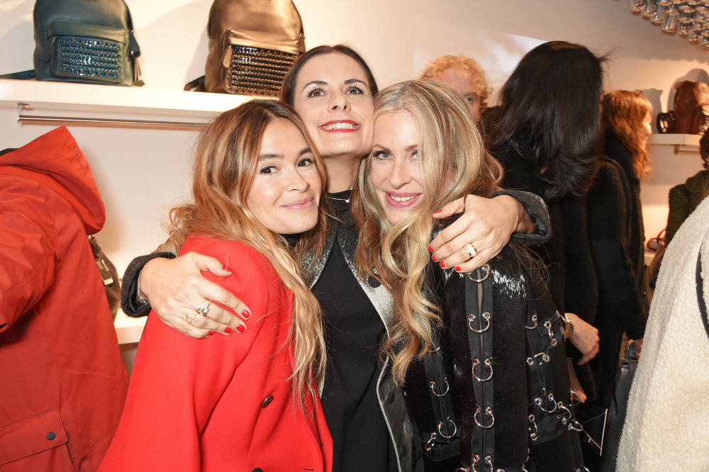 Brand supporters Mira Duma and Livia Firth with Carmen at Bottletop's new London flagship.
