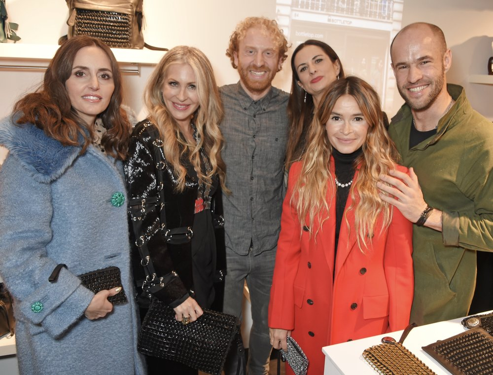 At last night's launch event (L-R): Tania Fares of The BFC Fashion Trust, Carmen, Bottletop co-founder Oliver Wayman, Livia Firth, Mira Duma and Cameron Saul.