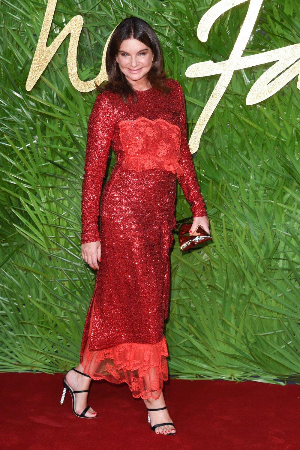 Outgoing BFC Chairman Natalie Massenet on the red carpet at the 2017 Fashion Awards.