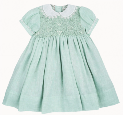 Girls Linen Hand-Smocked Embroidered Dress With Peter Pan Collar And Puff Sleeves.