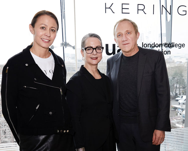 Caroline Rush from the British Fashion Council, Head of LCF Professor Frances Corner and François-Henri Pinault of Kering at the course launch / Photo: Shaun James Cox / British Fashion Council.