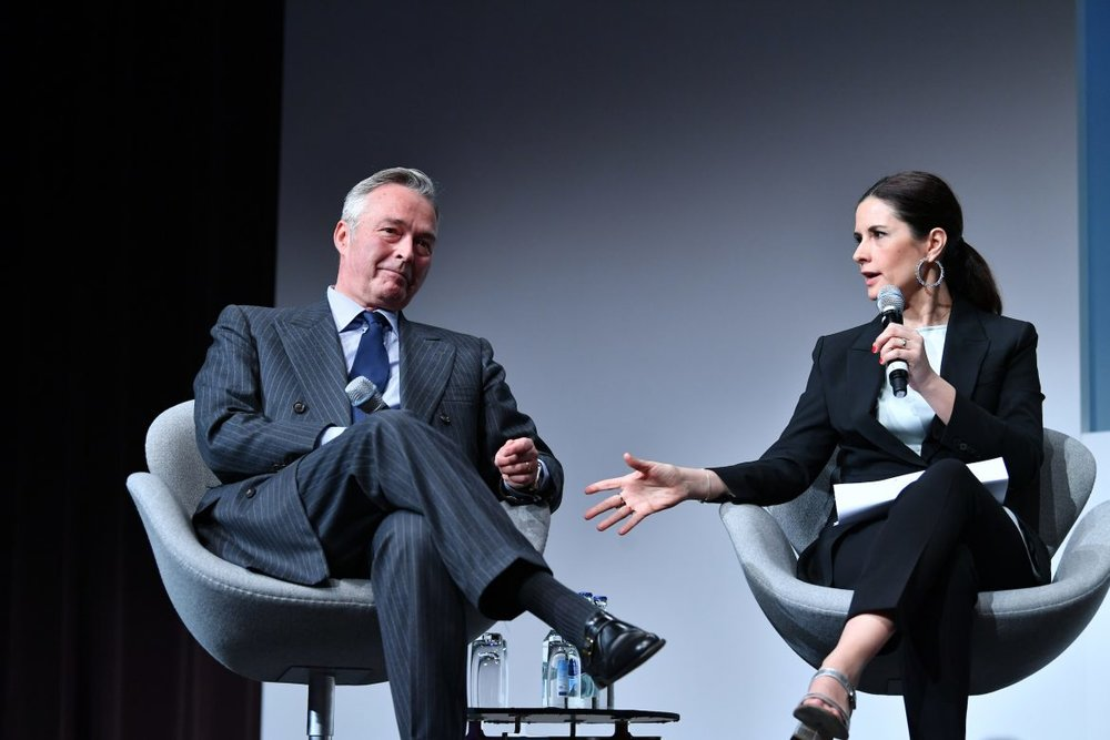 Chopard Co-President Karl-Friedrich Scheufele in conversation with Eco-Age's Livia Firth at Baselworld 2018 / Photo: Hours And Minutes Australia