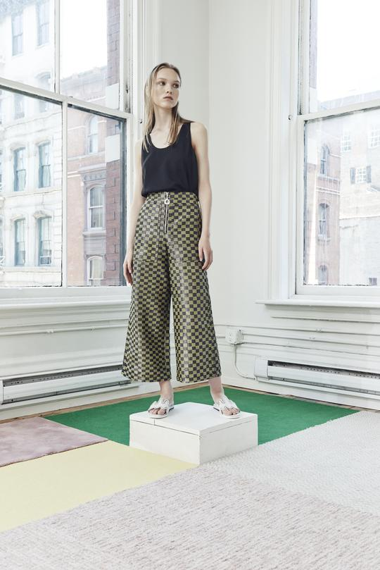 Edun Lurex Check Cropped Wide Leg Pant -  Made in Kenya.