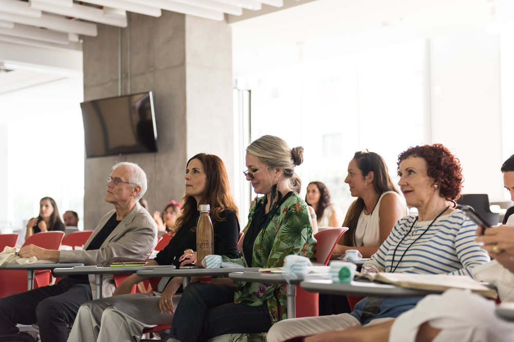 Paul Hawken, Livia Firth, Carmen and Carmen Hijosa attend the morning presentation on Cocos Island / Photo: Mauricio Martinez