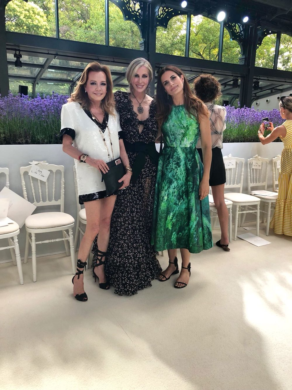L-R: Co-President of Chopard Caroline Scheufele, Carmen, and Livia Firth at Giambattista Valli's couture presentation in Paris.