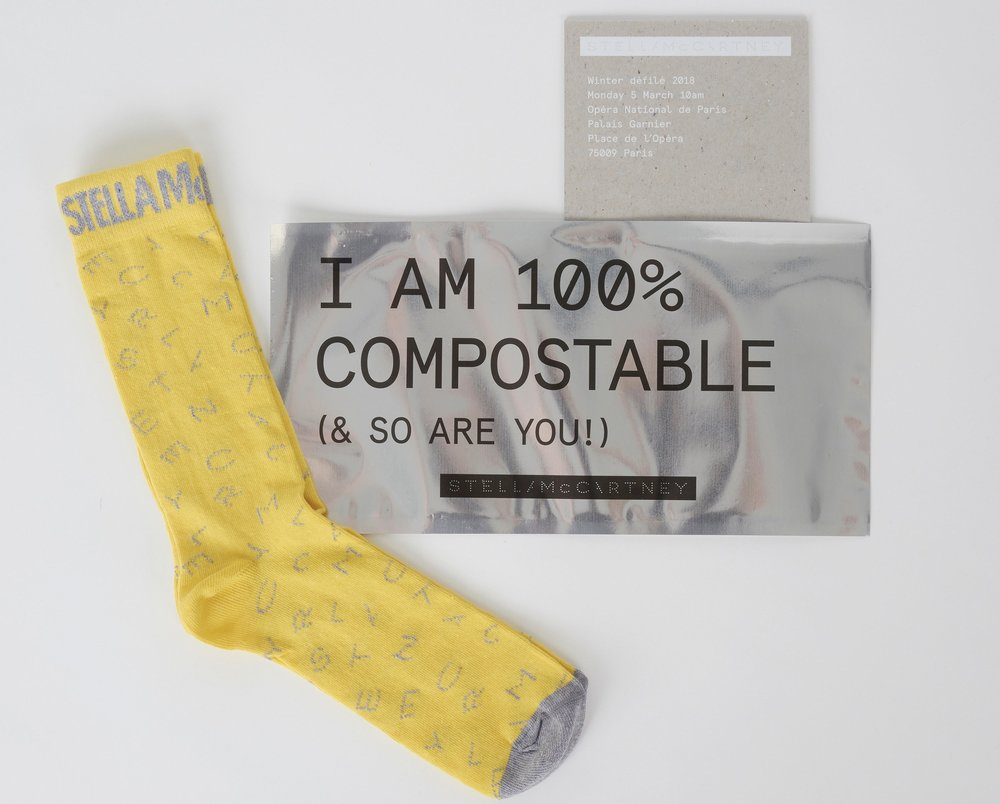 The Stella McCartney x Osom Brand socks that accompanied the invitation to the designer's AW18 show / Photo: Stella McCartney.