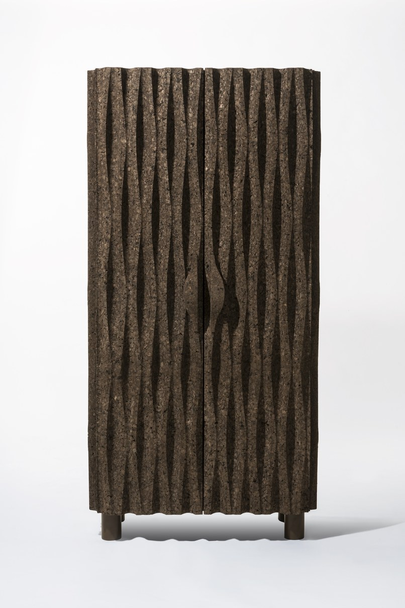 A cork cabinet featuring a wavelike pattern by the Campana Brothers.