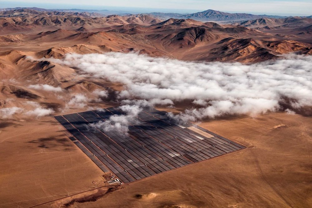 A photovoltaic plant in the Atacama Desert that supplies Cerro Negro Norte iron ore mine.
