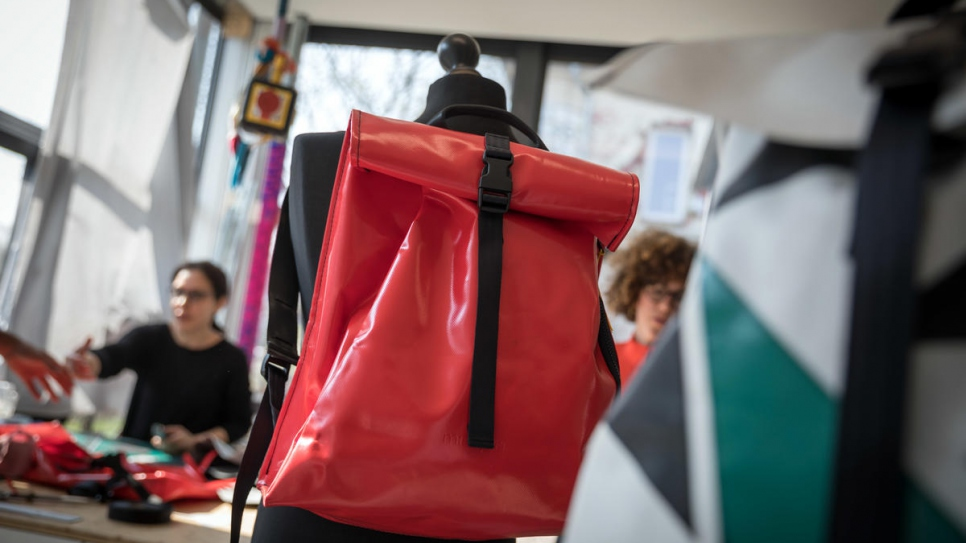 A Mimycri backpack made from recycled rubber / Photo: © UNHCR/Gordon Welters.