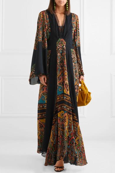 ETRO   Lace-Paneled Printed Silk-Chiffon Maxi Dress  £2,830
