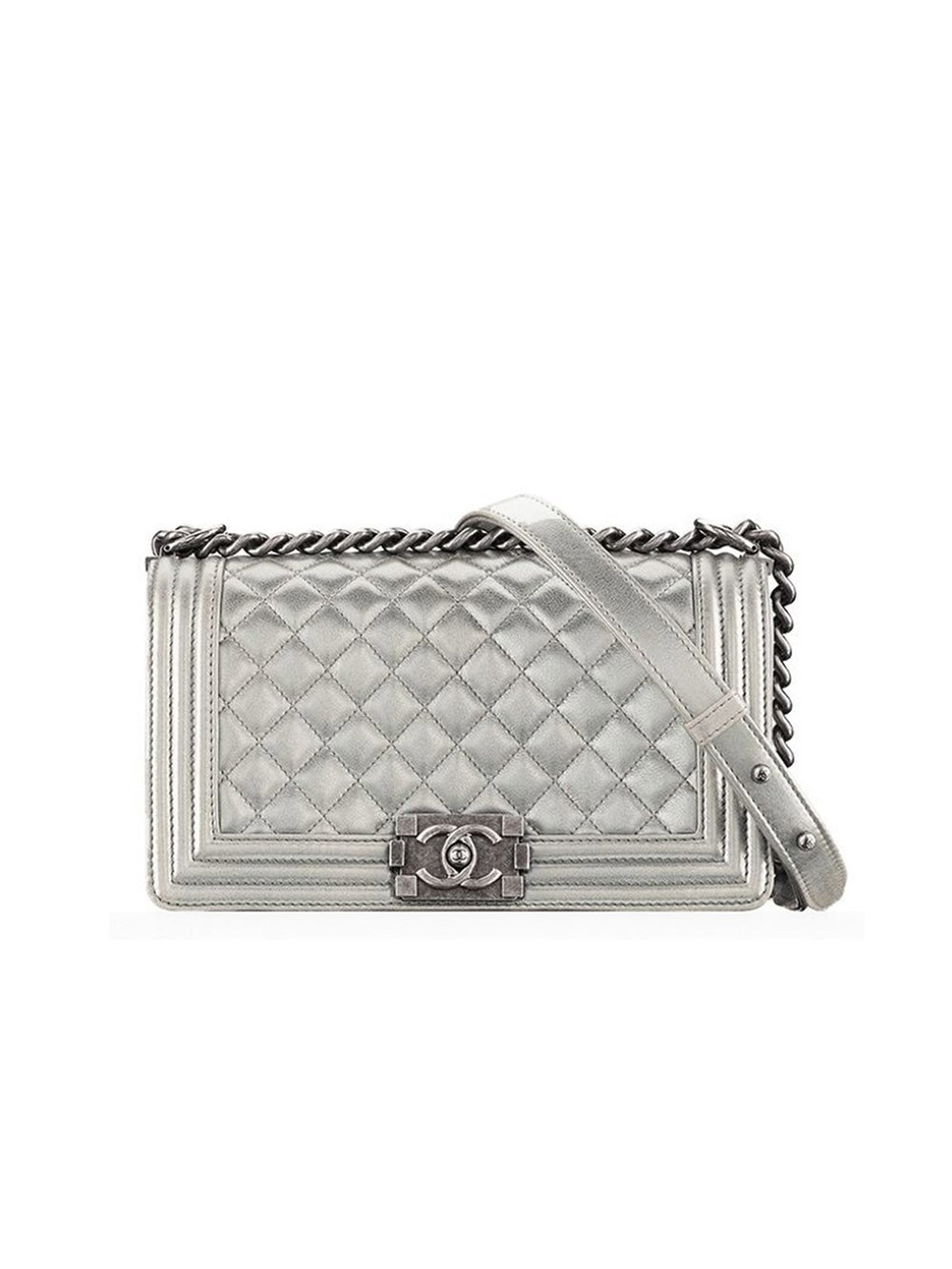 CHANEL   Metallic Silver Leather Purse  Borrow $250 / Retail $5,400