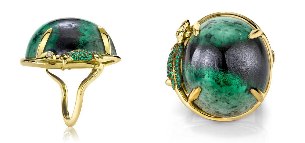 Alexander Von Humboldt ring -   18KYG, grossular garnet, emeralds and diamond.
