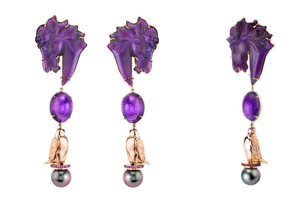 Freya Stark earrings - 18KPG, sugilite, amethysts, black diamonds and South Sea pearls.