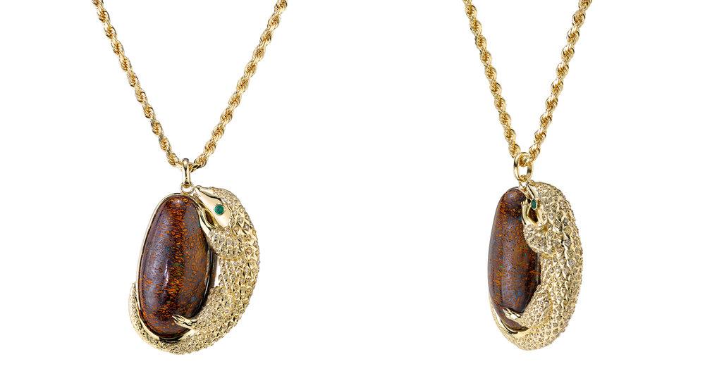 David Attenborough necklace -   18KYG, boulder opal, champagne diamonds and emeralds.
