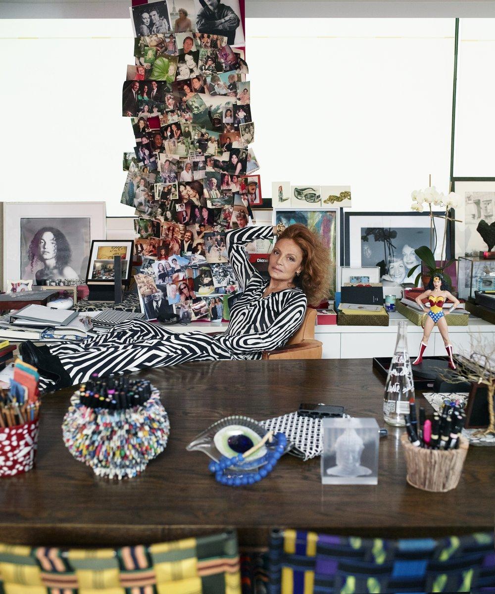 Diane at her desk. Photo: T. Whiteside, DVF Archives