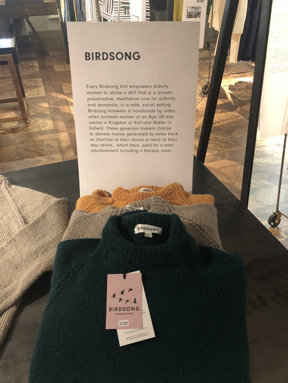 London-based brand Birdsong produces knitwear handmade by older isolated women.