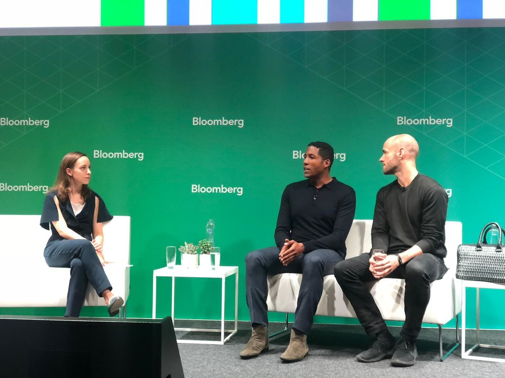 MAISON-DE-MODE.COM's Hassan Pierre and Bottletop founder Cameron Saul took part in the 'Building a Sustainable Brand' discussion, moderated by Bloomberg's Director of Sustainable Business Summits, Lauren Kiel.