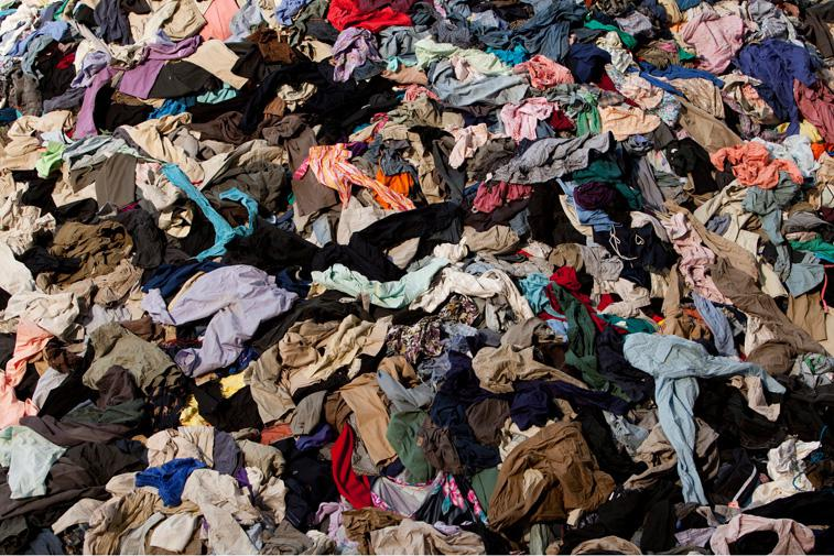 A close up of Christian Boltanski's art installation 'No Man's Land' which incorporates 30 tons of discarded clothing / Photo: James Ewing.