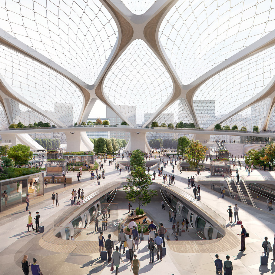 UNStudio has designed the station concept for a future European hyperloop.