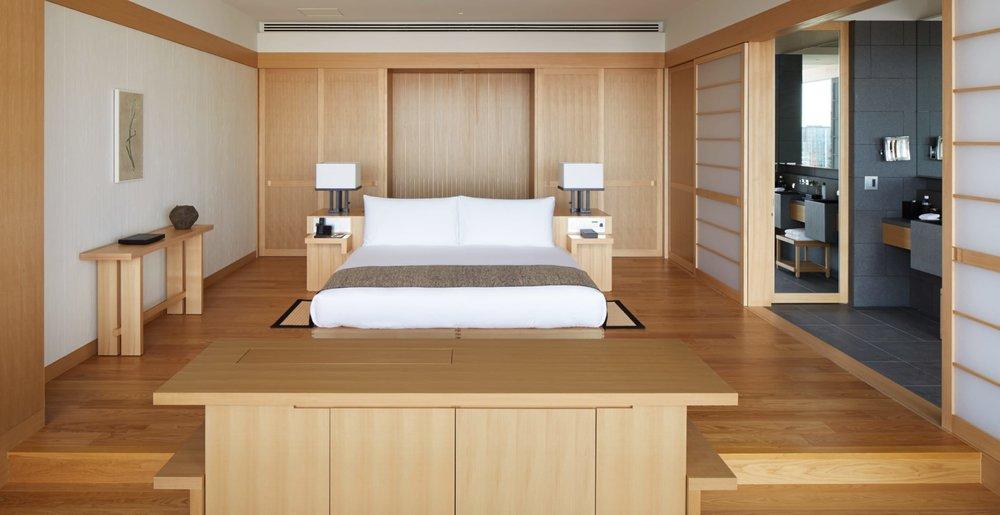 Warm wood furnishings reflect Japan's design heritage.