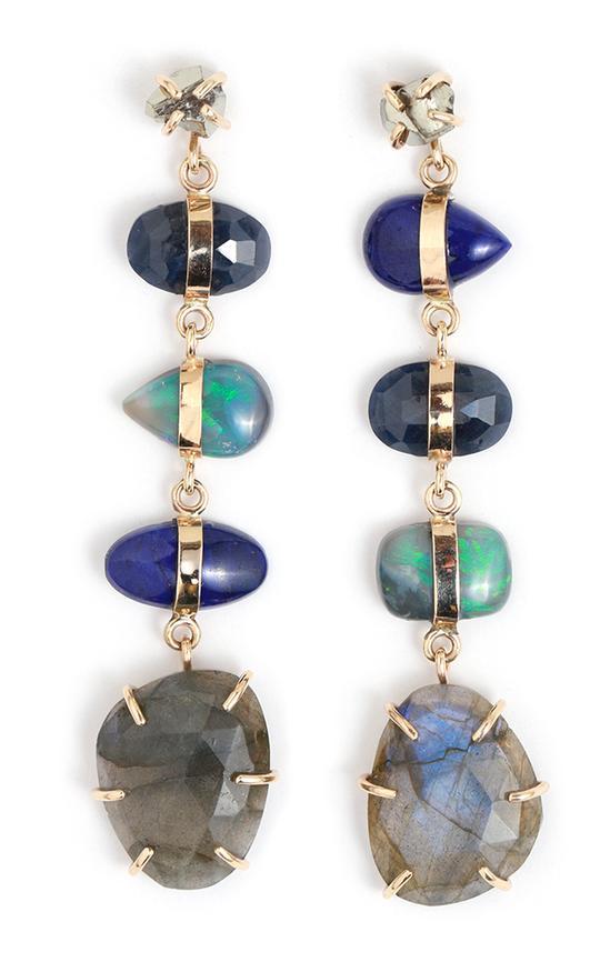 Sapphire, lapis, opal, labradorite, and pyrite drop earrings.