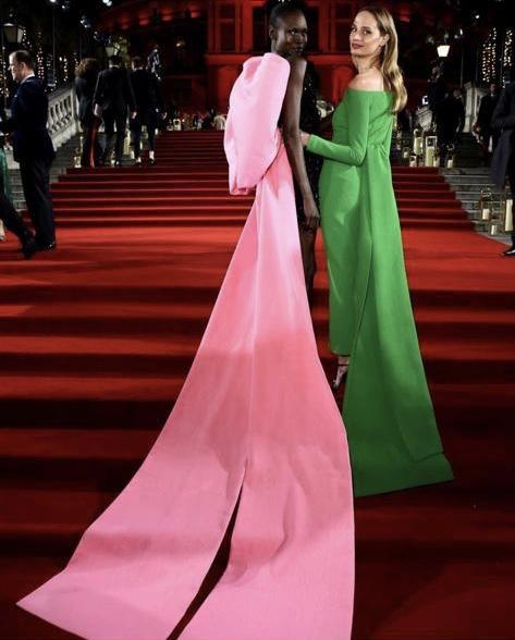 Moda Operandi's Lauren Santo Domingo in Emilia Wickstead with Alek Wek at the 2018 Fashion Awards in London.