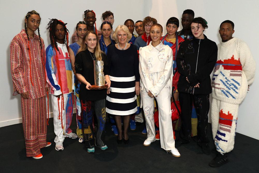 Bethany Williams with The Duchess of Cornwall, Adwoa Aboah and fellow models at London Fashion Week / Photo: Darren Gerrish.