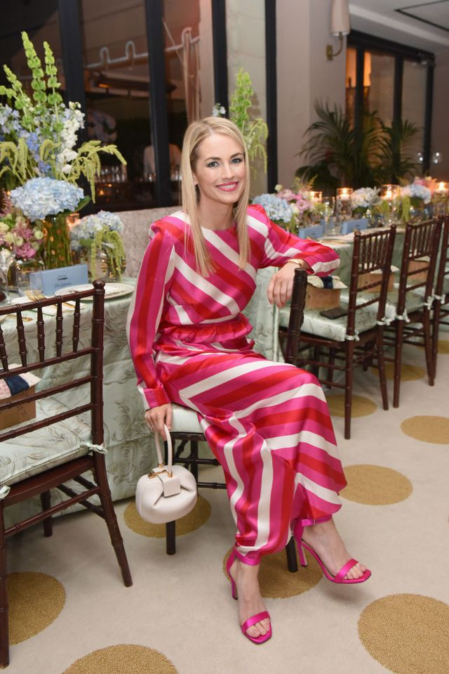 MAISON-DE-MODE.com co-founder Amanda Hearst wearing a Maggie Marilyn dress made from 100 percent ethically sourced silk, paired with a Nina bag from Gabriela Hearst's conscious collection.