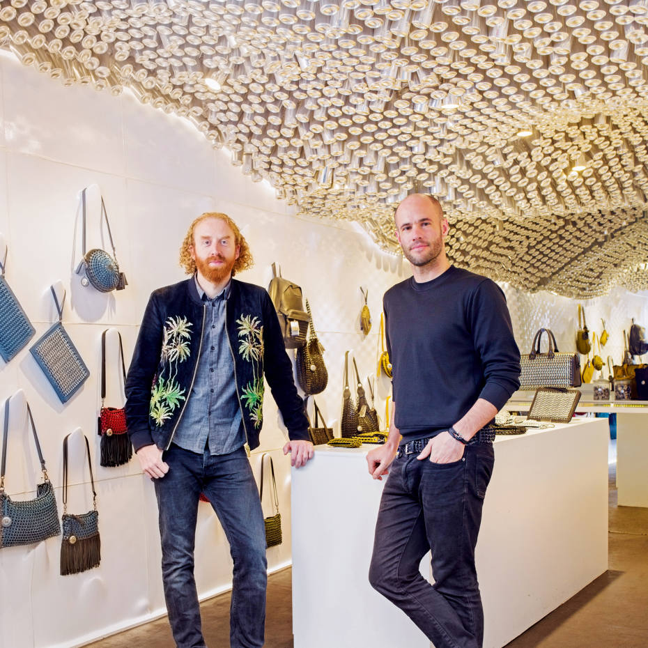 Co-founders of award-winning British accessories brand Bottletop, Oliver Wayman and Cameron Saul / Photo: Leo Goddard.