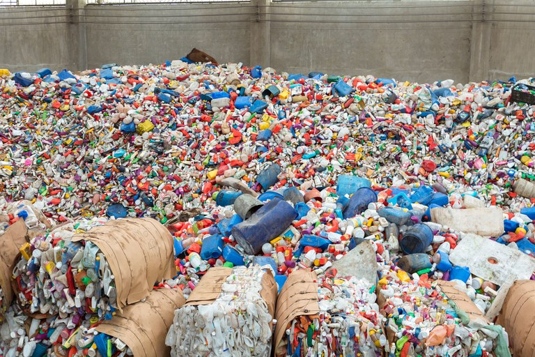 Intercepted ocean plastic at Yardbird's partner facility in Manila / Photo: Architectural Digest.