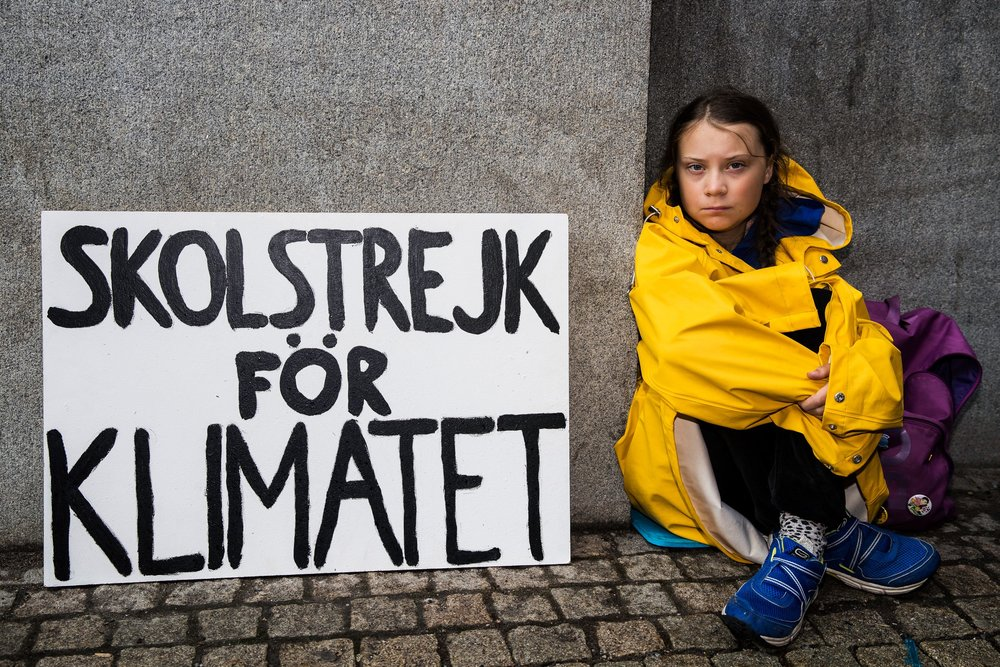 Greta Thunberg pictured outside the Swedish parliament last August / Photo: Michael Campanella/Getty.
