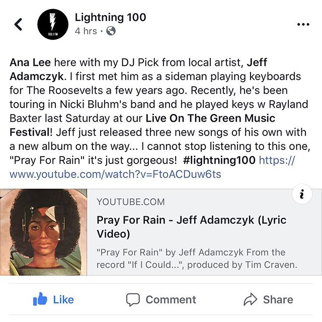 It's been ridiculously fun to hear Pray For Rain on the radio all day and I can't thank @analee615 and @lightning100 enough for playing it.. and you can hear it one last time today at 730 PM Central! #nashville #lightning100 #newmusic ✌🏼