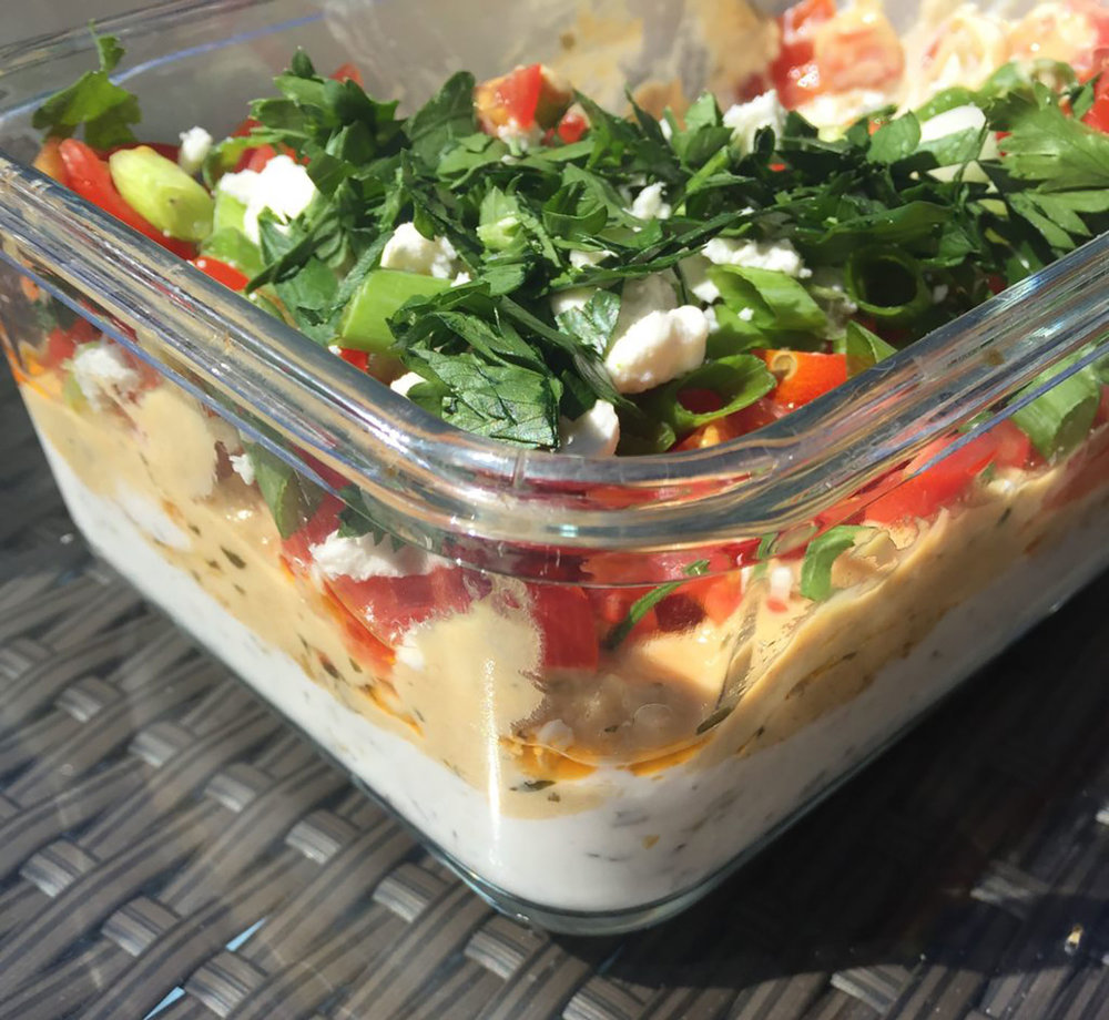 Creamy, herby and flavorful Low Fat 7 Layer Greek Dip